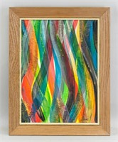 American Minimialist Oil on Canvas Signed S LeWitt