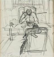 Russian Impressionist Graphite Pyotr Konchalovsky