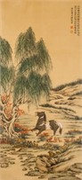 Ma Jin 1900-1970 Chinese Watercolor Horse Scroll