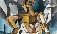 Russian Cubist Gouache on Paper Liubov Popova