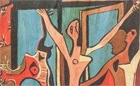 Spanish Cubist Oil on Board Signed Picasso