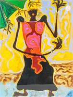 Costa Rican XX Acrylic on Paper Signed PME