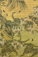 19th Century Chinese Watercolor Tiger Scroll
