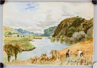 American Watercolor on Paper Signed S. Eastman