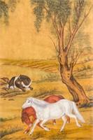 Lang Shining 1688-1766 Chinese Watercolor Scroll