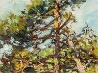 Artist Signed KPM Russian Oil on Paper Landscape