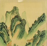 Chinese Watercolor Mountainous Landscape Framed