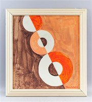 Ukrainian French Orphism Oil Signed Sonia Delaunay