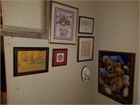 Wall of Misc Framed Pictures, Prints, Needle Point
