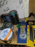 Shelf lot of Screws,Hand Tools,Ink,Tape Dispenser