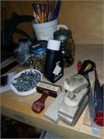Shelf lot of Hand Tools, Velcro, Screws,  Etc