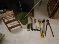 Bucket Full of Hand Tools, Step Ladder, and More