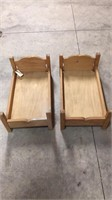 2- Wooden Doll Beds
