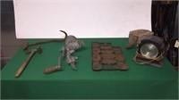 Grinder, Hay Hook, Cast Iron Pan, Pulley, Etc.