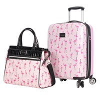 """Betsey Johnson 19"""" Hard Spinner Suitcase & Tote"""