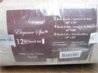 Elegance Spa 100% Cotton 12-piece Towel Set