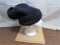 Adrienne Landau Knit Hat with Rabbit Fur Pom Pom