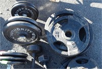 Group of weights, include 10 pound, 25 pound, 35