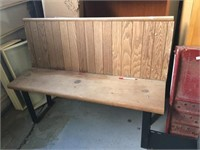 WOOD BENCH WITH METAL BASE