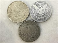 1899-O,1921 & 1921-D MORGAN SILVER DOLLARS, 3 X $