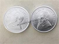 2018 (1 OZ SILVER) SOUTTH AFRICA KRUGERRANDS, 2 X$