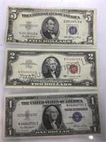 5-$5 SILVER CERT., 2-$1 SIL. CERT & 3-$2 RED SEALS