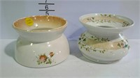 2 Floral spittoons, 1 is Homer Laughlin