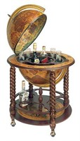 GLOBE BAR WINE AND GLASS CABINET WITH ROLLER