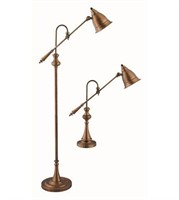 STEIN WORLD 59INCH BRASS FLOOR LAMPS AND TABLE