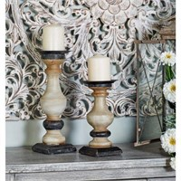 LITTON LANE WHITE WOOD AND IRON CANDLE HOLDERS