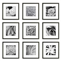 GALLERY PERFECT BLACK SQUARE PHOTO FRAME(9 PC)