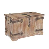 WOODEN AND METAL VICTORIAN RUSTIC CHEST