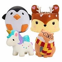 BEYUMI Slow Rising Toy, Unicorn, Glasses Cat, Deer