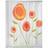 InterDesign Marigold Shower Curtain, Red and