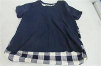 Gibson Womens XL Plaid Shirt, Navy
