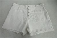 Madewell Womens W32 High Rise Denim Shorts, White