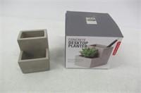 Kikkerland Concrete Desktop Planter, Small
