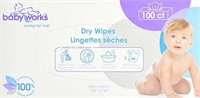 (3) Baby Works Dry Wipes, 100 Count