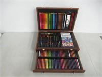 """As Is"" Deluxe Art 101 142-piece Wood Artist Kit"