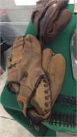 2- Vintage Baseball Gloves, Magic Tricks,
