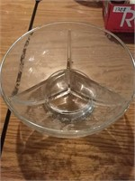 Glass Separated serving bowl with sugar and