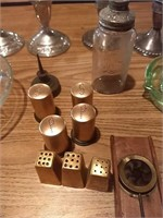 4 candlestick holders, salt and pepper shakers,