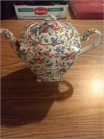 Royal Winton floral teapot, plate, creamer, and