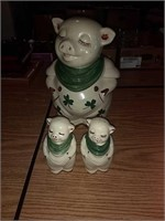 Pig cookie jar, salt and pepper shakers. One