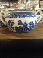 4 Teacups, saucers, sugar dish, and other v
