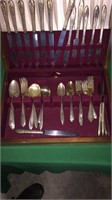 Rodgers Overlaid Silverware In Wood Case