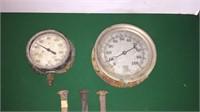 2- Vintage Gauges & 3- Railroad Spikes