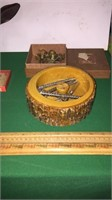 Wood Carved Deer Head, Nut Bowl & Crackers,