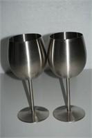 SET OF 2 STAINLESS STEEL WINE GLASSES