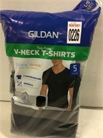 GILDAN 5-PIECE V NECK SHIRTS, LARGE